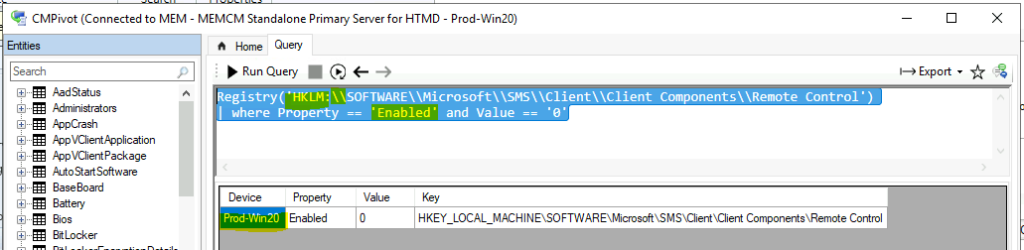 Quickly Check Registry Values using SCCM CMPivot Query 1