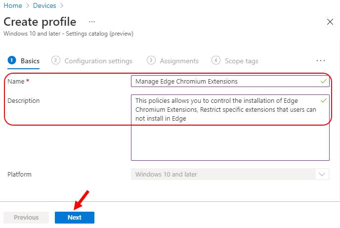 Settings Catalog – Manage Microsoft Edge Extensions