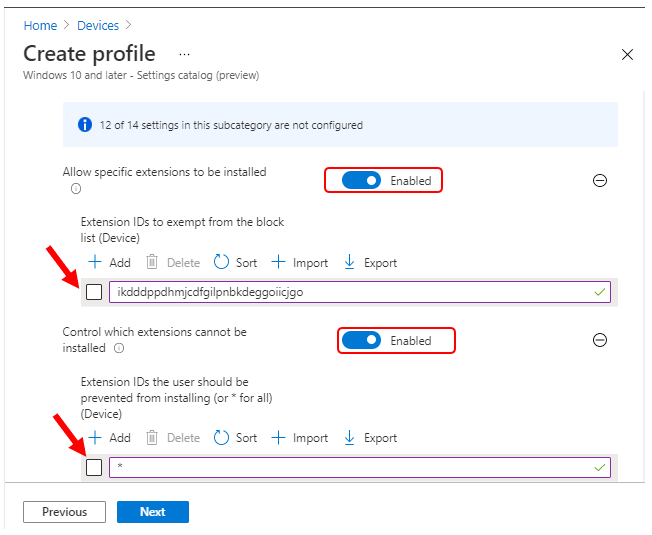 Settings Catalog – Manage Microsoft Edge Extensions using Intune
