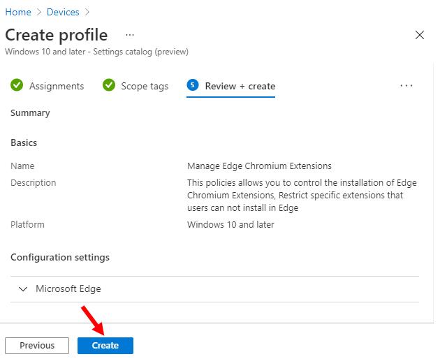 Review + Create – Device Configuration Profile