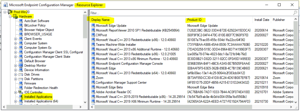 Hardware Inventory Details from Resource Explorer