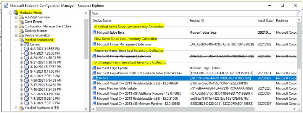 Hardware History Details from SCCM Resource Explorer