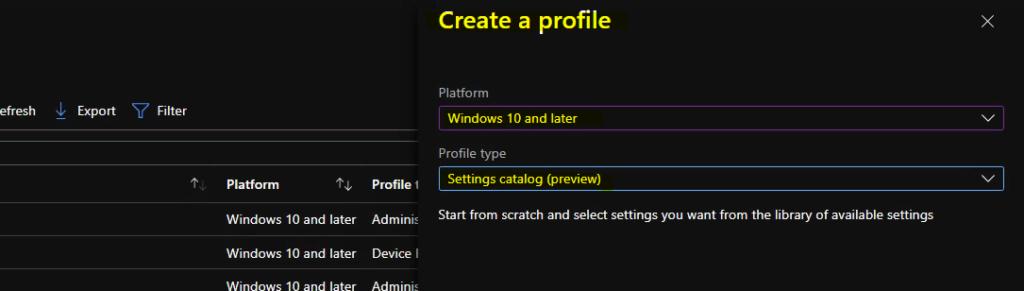 Create RDP Settings Policy using Intune