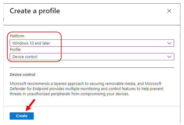 Intune Attack surface reduction – Select Platform, Profile type