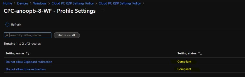 Cloud PC RDP Properties using Intune