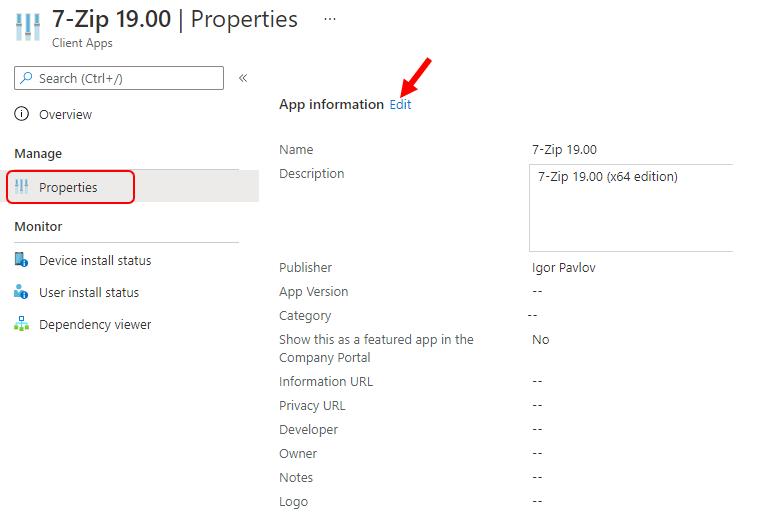 Application Properties - Configure Intune Company Portal Application Icon