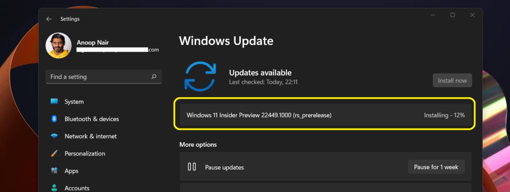 Windows 11 Upgrade to Build 22449 Branch
