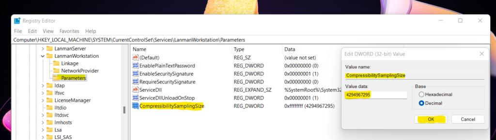 Configure Windows 11 SMB compression improvements to Compress File Aggressively 2