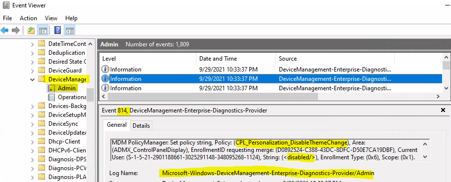Intune Event Logs - Event ID 814