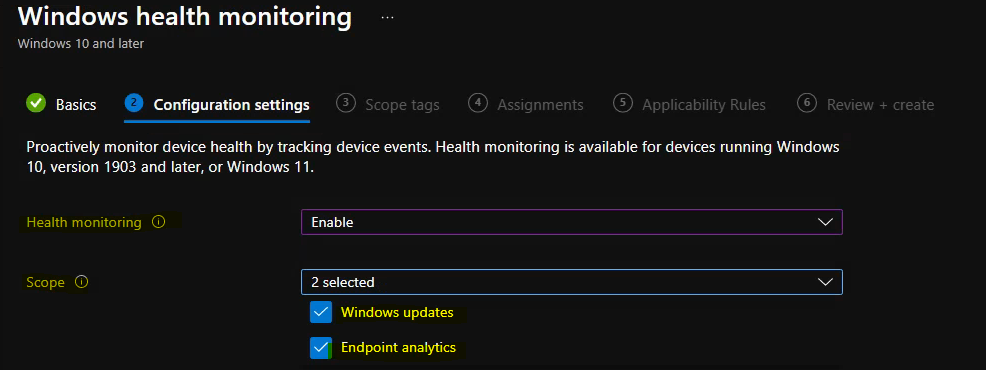 Create Intune Data Collection Policy - Windows Health Monitoring