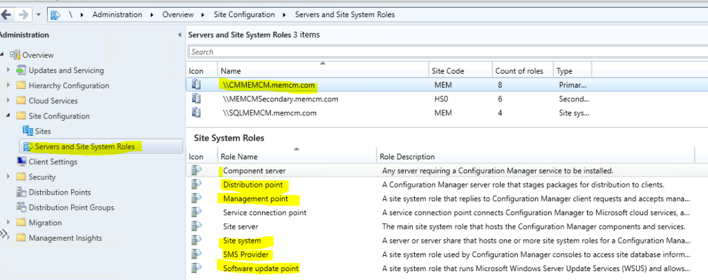 SCCM Server Details with Roles SQL Custom Report for DP MP SUP