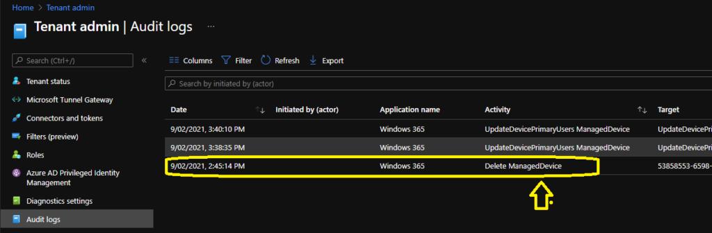 Windows 365 Cloud PC Audit Logs