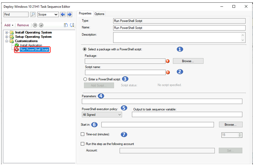 Add Run PowerShell Script Step to SCCM Task Sequence 1