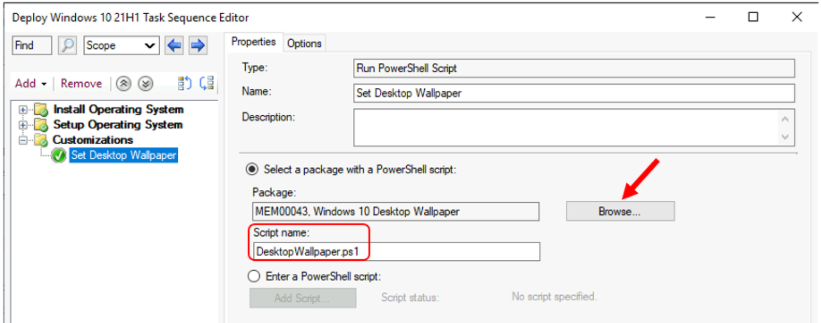 Add Run PowerShell Script Step to SCCM Task Sequence 2