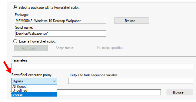 Add Run PowerShell Script Step to SCCM Task Sequence 4