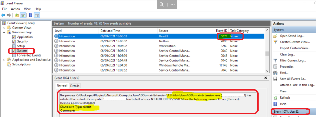 AVD VM Force Restart issue with reason code 0x80000000