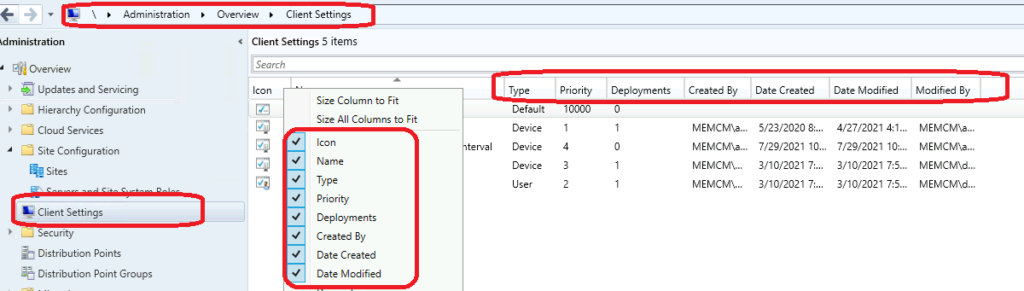 SCCM Client Settings Custom Report with Priority Details using SQL query
