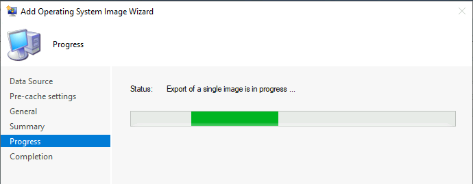 Add Operating System Image Wizard - Export of a single image is in progress