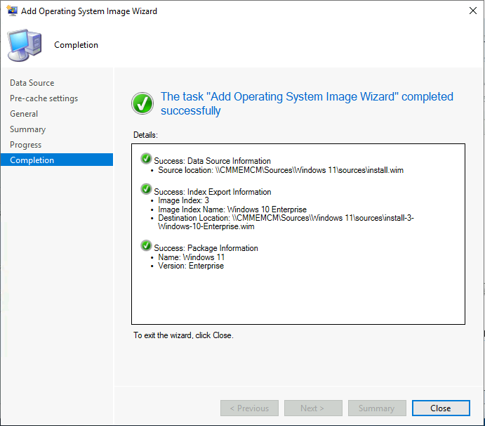 The task Add Operating System Image Wizard completed sucessfully