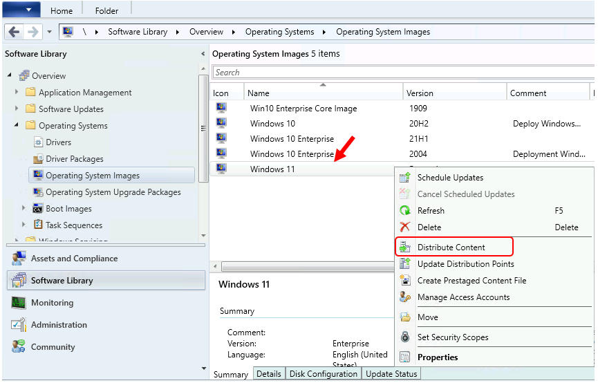 Click Distribute Content - Best Guide to Deploy Windows 11 Using SCCM