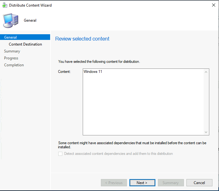 Distribute Windows 11 Image - Review Selected Content