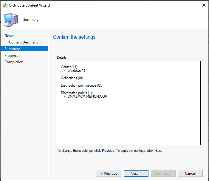 Distribute Windows 11 Image - Confirm the selection