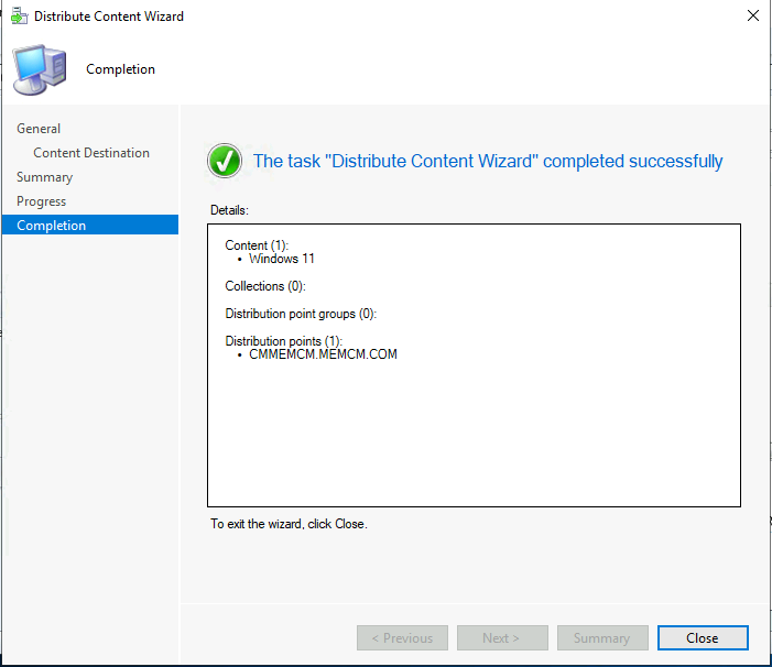 The task Distribute Content Wizard completed sucessfully