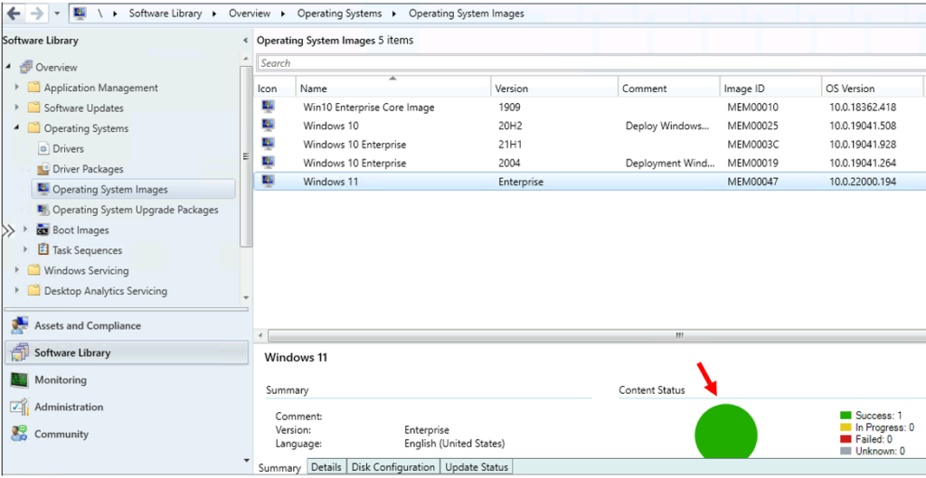 Content Distributed Sucessfully - Best Guide to Deploy Windows 11 Using SCCM