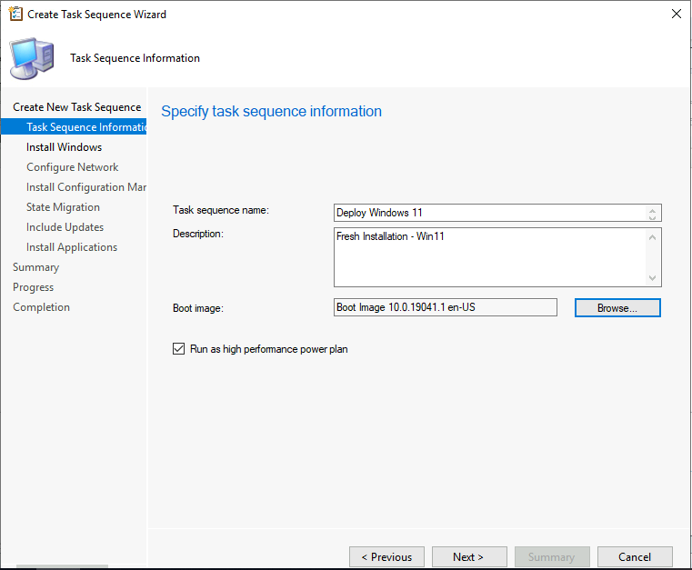 Create Task Sequence Wizard - Specify task sequence information