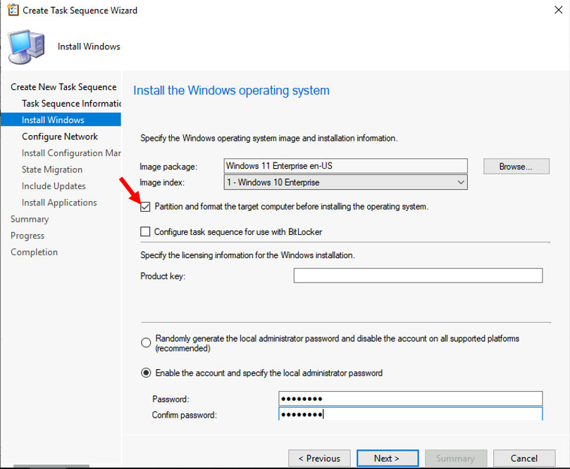 Create Task Sequence Wizard - Specify the Windows OS and Installation Information