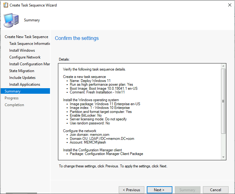 Windows 11 Task Sequence - Confirm the task sequence details