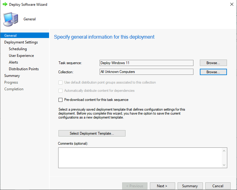 Deploy Windows 11 Task Sequence - Select Collection