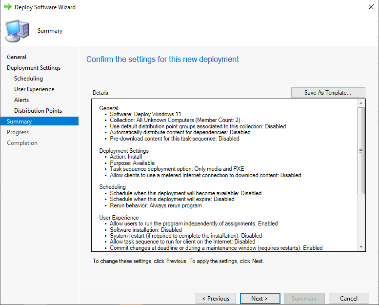 Deploy Windows 11 Task Sequence - Review Selected Settings