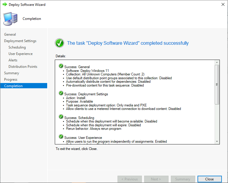 Deploy Windows 11 Task Sequence - Successfully Completed