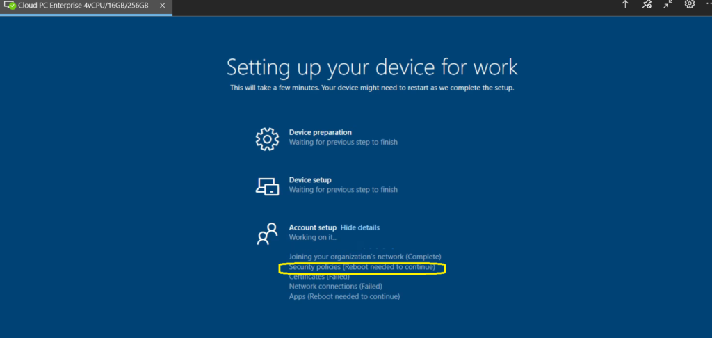 Disable Enrollment Status Page for Cloud PCs?