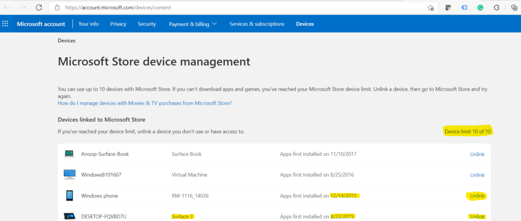 Fix Device Limit for Microsoft Store Issue on Windows 11 Install your App Remove a Device 1