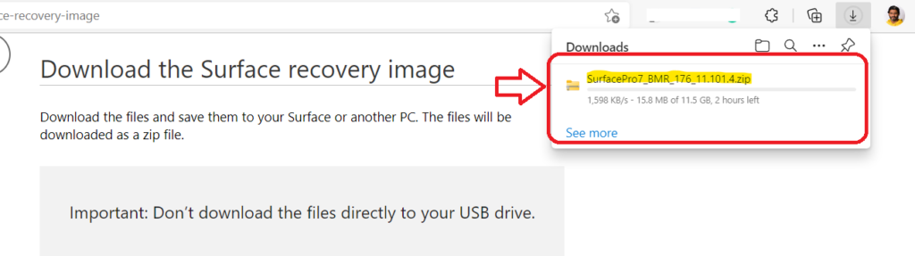 Download Surface Recovery Image for your Surface Device