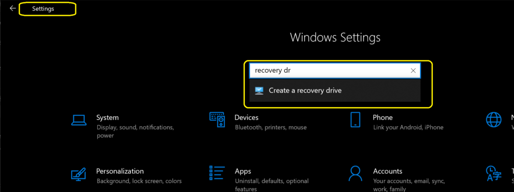 Create the USB recovery drive for Surface Device