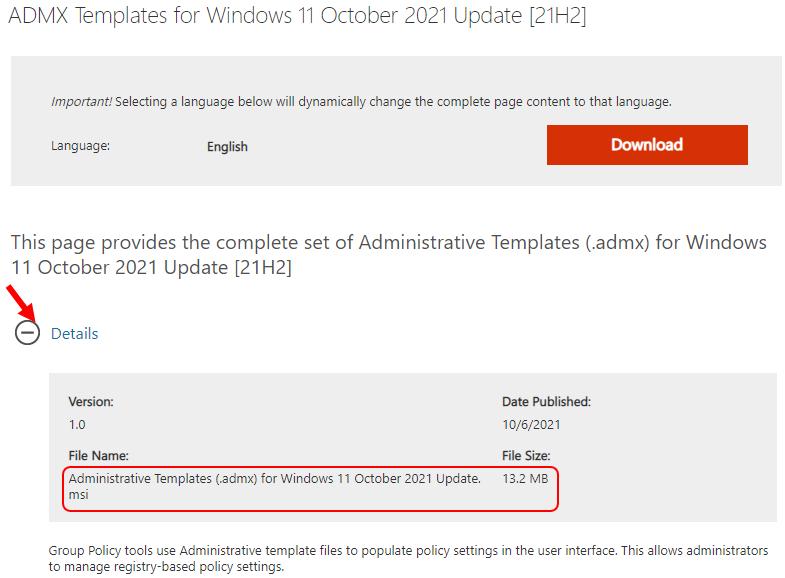 Download Windows 11 Administrative Templates