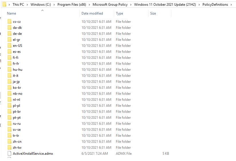 Windows 11 Administrative Templates