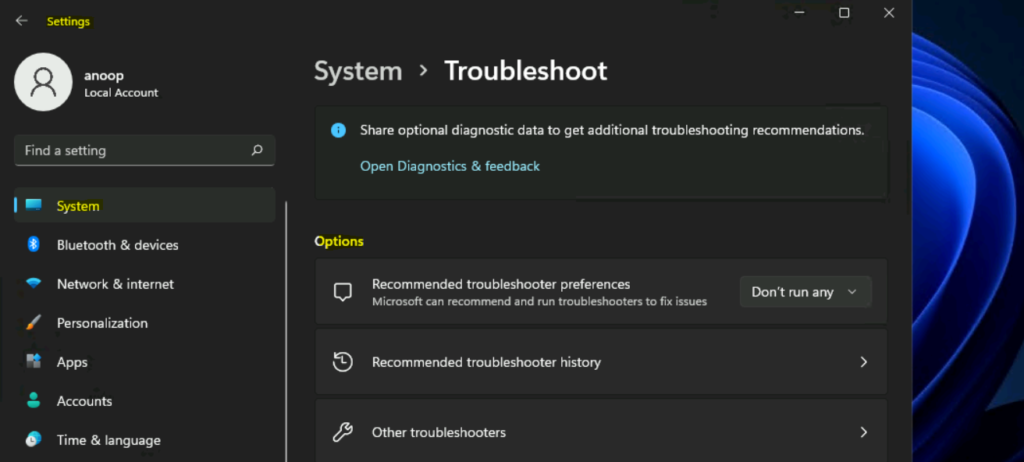 Windows 11 Troubleshooting Options from Settings page