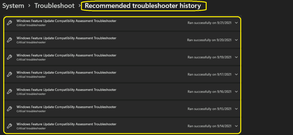 Windows 11 Troubleshooting Options from the Settings page
