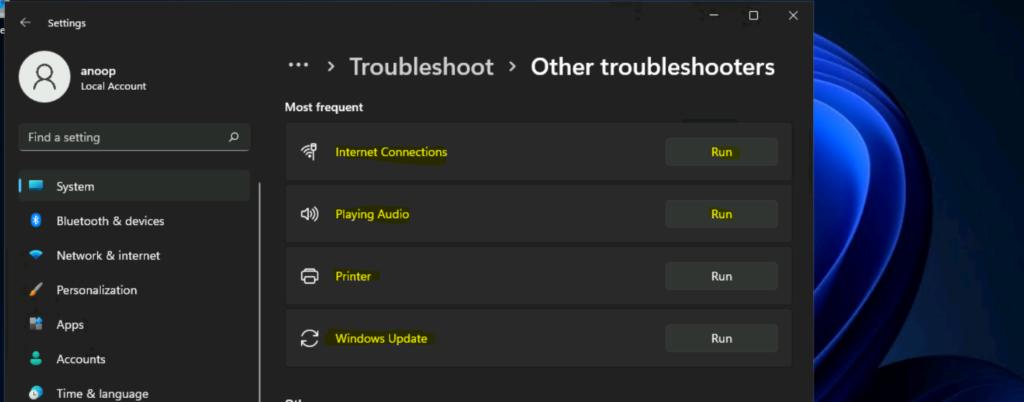 Windows 11 Troubleshooting Options Fixes 1