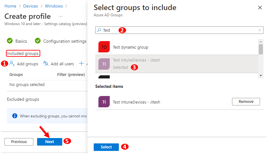 Assignments – Select groups to include