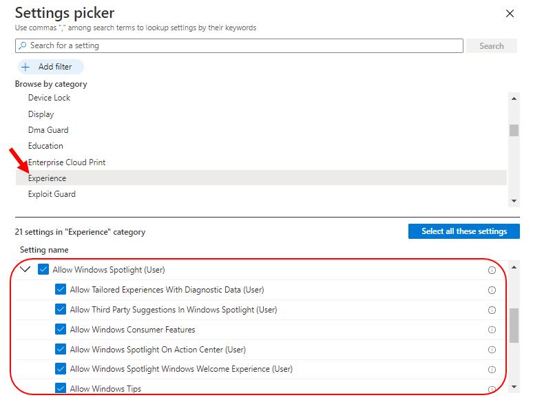 Settings picker –Experience | Disable Windows Spotlight using Intune