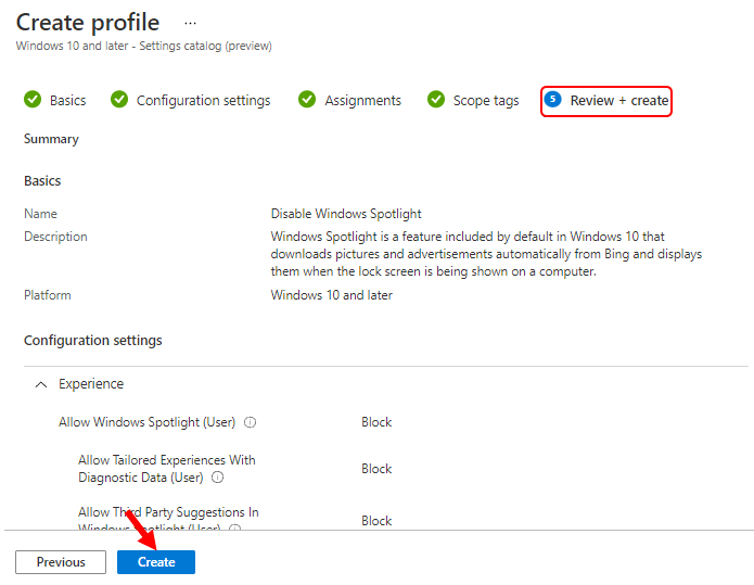 Review Configuration Settings - Disable Windows Spotlight using Intune