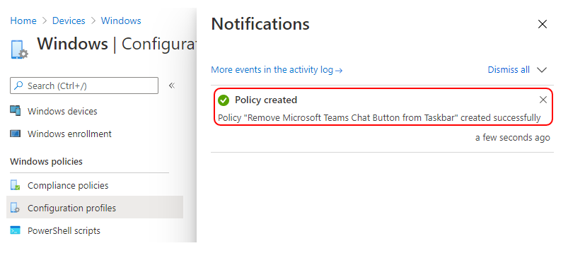 """Policy """"Remove Microsoft Teams Chat Button from Taskbar"""" created successfully"""