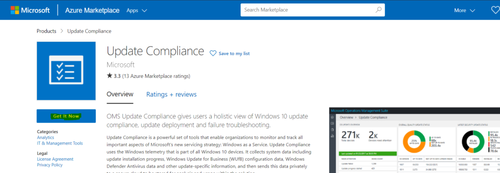 Connect - Setup Update Compliance with Azure Subscription and Log Analytics