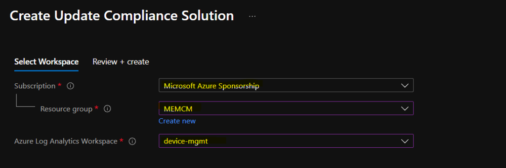 Configure Update Compliance with Azure Subscription and Log Analytics