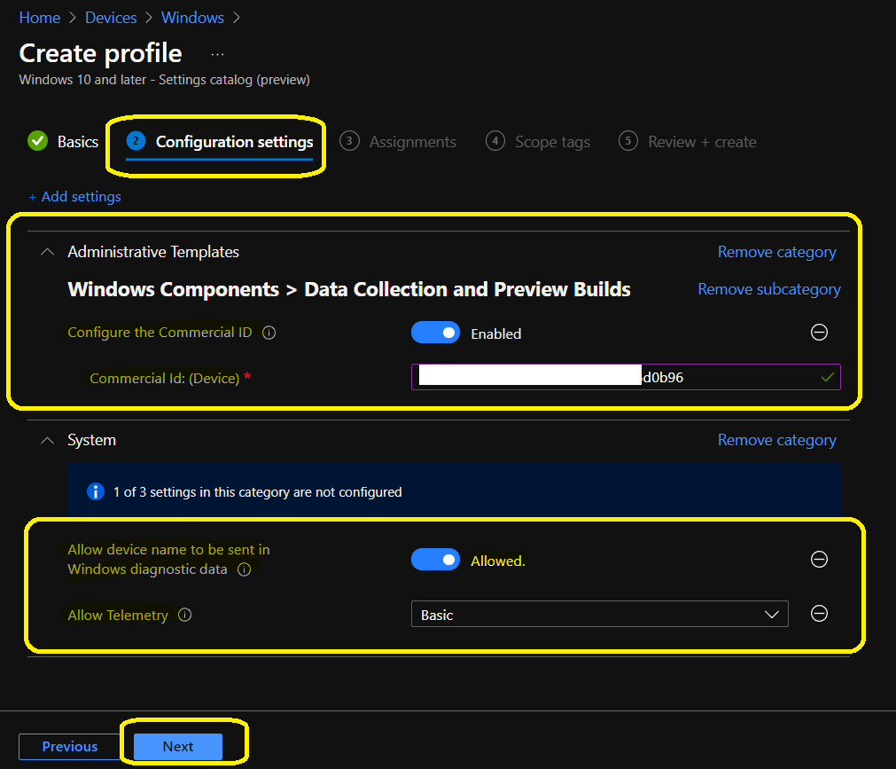 Intune Update Compliance Data Collection Policy
